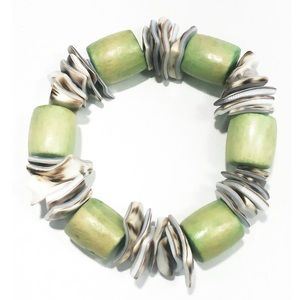 Unique Wood and Shell Stretch Bracelet